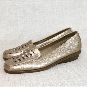 86c1065d17f Size 9 Aerosoles A2  Stitch N Turn  Gold Loafer